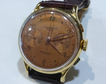 Vintage Chronograph Suisse, 12 Hour Chronograph Recorder with Landeron cal. 51, Swiss Made, Manual Wind Movement.