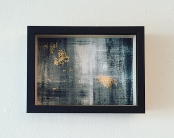 Original framed acrylic painting with gold leaf