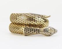 Whiting and Davis Snake Bracelet - Vintage 1970s Gold Mesh Snake Wrap Bracelet