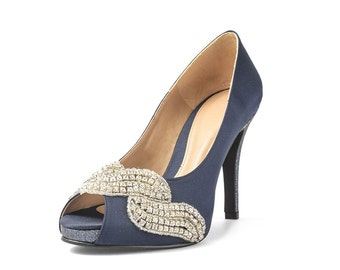 Covet Jackie Navy Satin Peep Toe Pumps, Blue Satin Heels with Glitter, Navy Blue Wedding Shoes with Appliques