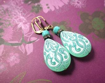 Ornament mint - Ohrringe Ohrhänger barock Vintage weiß