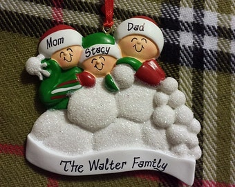 Personalized Christmas Ornament 3 Kids Having Snowball Fight - Gift for Mom or Gift for Grandma –  Family Ornament or Christmas Magnet