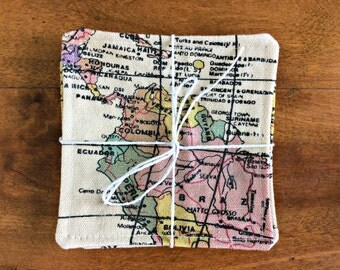 Map travel Fabric Coasters (set of 4) Reversible