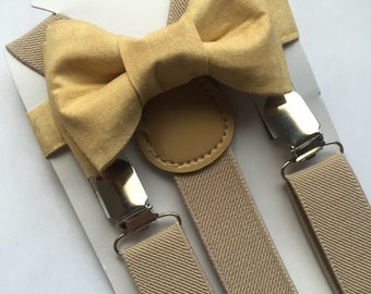 Cream Bowtie/Beige Suspenders Set. Beige/Cream Bow Tie Set! Tan/ Gold Bow Tie set. Adults/Kids