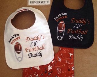 REVERSIBLE Texas LONGHORNS inspired Baby Bib; Handmade, Diaper Pin Football embroidery, Gender Neutral bib, daddy's/Grandpa's buddy bib
