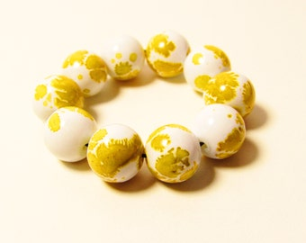 D-00978 - 10 Glass beads 10mm Yellow