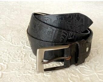 ON SALE Tooled leather belt in black , Leather belt in black , Mens leather belt , Wide leather belt , Mens belt , Black belt