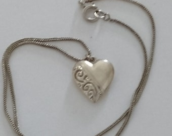 vintage sterling silver puffed heart pendant and rope chain