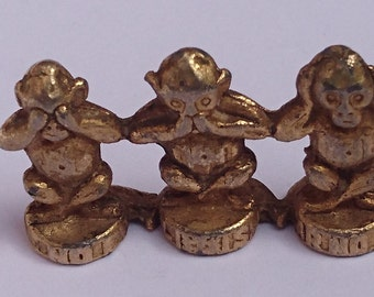 Small vintage brass see, hear, speak no evil ornament