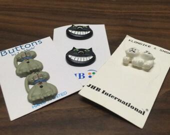 Cute Novelty Buttons, Cat Buttons, Cheshire Cat Buttons, Polar Bear Buttons