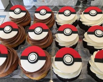 Pokeball Cupcake Topper -1 Dozen Pokemon Fondant Cupcake Topper