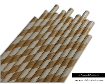 Paper Straws - Kraft - Stripe - Set of 25 (19.5cm x 0.6cm) #PS68