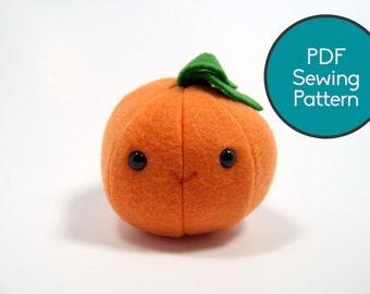Orange/Apple/Pumpkin Fruit Plushie Pattern, PDF Sewing Pattern, Orange/Apple/Pumpkin Fruit Sewing Pattern
