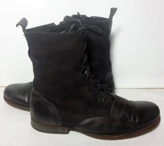 allsaints black leather combat boots s by