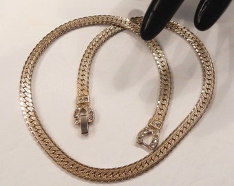 Vintage Herringbone Chain Necklace with Clear Rhinestone Accents