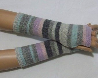 SALE, Stripes, Upcycled, Wool, Mittens, Short Arm Warmers, Soft  Fingerless Gloves, Boho, Hippie, with Thumb Holes. IDEAL for HER