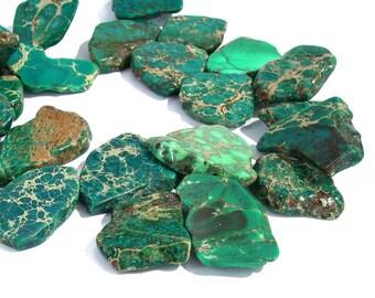 "15"" LARGE Terra Jasper Graduated Green slab focal freeform nugget gemstone Beads - snakeskin - Impression Jasper  Half / Full Strand"