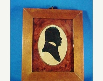 SALE Antique Miniature Cut Paper Silhouette Portrait with Painted Mat in Frame