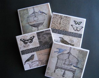 Birds and Butterflies Coaster~ Birds and Bird Cages ~ Victorian Bird Cages ~ Ceramic Tile Coasters ~ Drink Coasters ~ Housewarming Gift