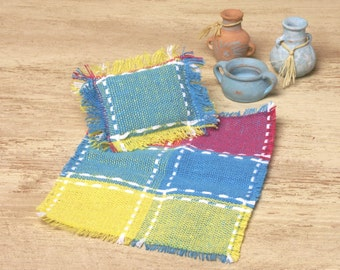 Colorful Miniature Summer Blanket with Pillow for Your Dollhouse