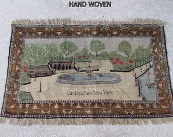 70 Years Old NEW YORK RUG 2.72x4,72 ft 83X144 cm Hand Woven New York Carpet Central Park Rug Central Park Carpet Panaromic Wall Tapestry Rug