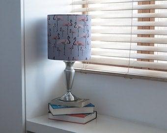 Pink Flamingo Lampshade Grey - flamingo print home - flamingo pattern -handmade - fabric lampshade -  gift for her - new home
