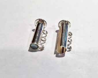 SALE: Two Magnetic Slide 3 strand Clasps, 3-strand slide lock, silver-plated brass,  tube