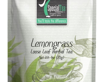 1 oz. Lemongrass Organic Herbal Black Loose Tea plus Free Tea Bags