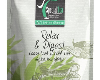 16 oz. Relax & Digest Herbal Loose Tea with Free Tea Infuser