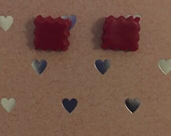 Red Cut Edge Stud Earrings