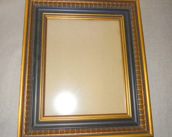 Elegant Wood Picture Frame - Holds 9 3/4 x 7 3/4  Black and Gold Detailed Design