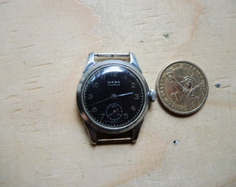 Vintage Serviced black dial design Mechanical Wrist Watch MAJAK Kirovskie MCHZ 1 1950s / USSR Hi-Grade 15j / like Pobeda watch / collectible