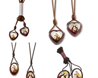 Wood Scapulars with Cord in 4 Different Styles Catholic Scapular, Brown Scapular