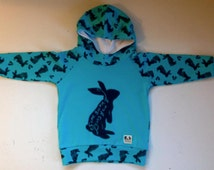 SALE Ready to Ship 12-18 months Some Bunny Loves You hooded raglan.