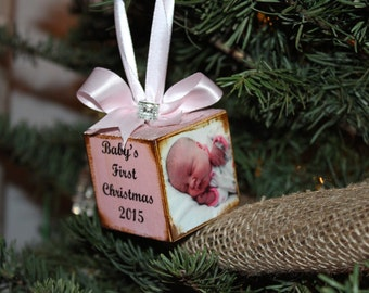 Baby's First Christmas Ornament photo Personalized and custom