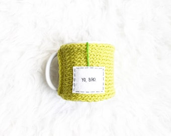Knit Personalized Coffee Mug Cozy, Lime Green Mug Cozy, Cup Cozy, Knitted Cozy, Personalized Mug Cozy, Tea Cozy, Knitted Accessories