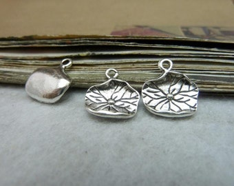 50pcs 13x15mm Antique Silver Lotus Leaf Charms pendants AC8100