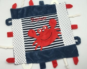 Blankie for baby boy, toy tag minky blanket, personalized baby gift, embroidery monogram puppy crab monkey