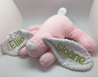 Baby gift personalized bunny stuffed rabbit toy photo prop grey pink blue baby boy monogram girl toddler tooth fairy pillow pocket