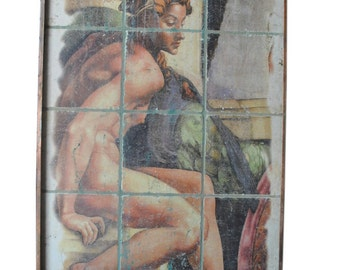 """Euro Nude Lady Indoor Wall Fountain, Painted Tile, Copper 62""""H, PA4638, Shipping  Not Free!!!"""