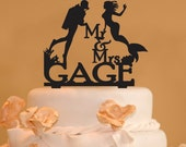 Personalized Scuba Diver and Mermaid wedding cake topper - Mr. and Mrs. scuba diving Cake Topper - Mermaid topper - Scuba diving topper