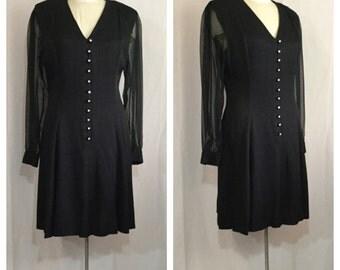 Vintage 1980's Black Dress with Sheer Sleeves