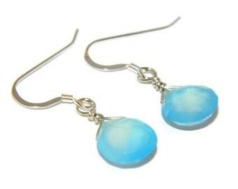 Sterling silver earrings, aqua chalcedony gemstone earrings, wire wrapped briolette, dainty earrings, blue chalcedony jewelry, blue earrings