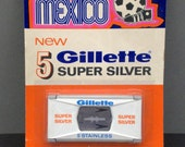 "5 razor blades""Super Silver Gillette"" 1969/70 org. blister with dispenser"