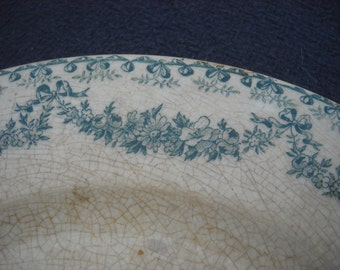 Longwy Early French Faience China Porcelain Ceramic Terre de Fer Transfer Printed Plate 1800s Marie Therese Design Fully Marked Authentic