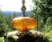 Vintage Amber Glass and Metal Table Lamp - Amber Glass Table Lamp