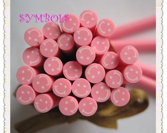B-01 5PCS Pink Smiling Face Polymer Clay Cane Stick DIY Accessory