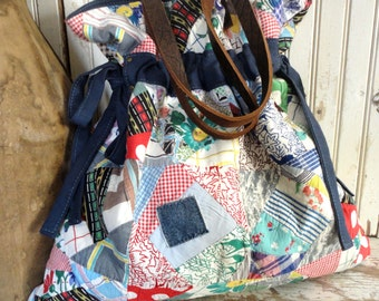 VINTAGE PATCHWORK Crazy Quilt BAG with Matching Zipper Pouch 845