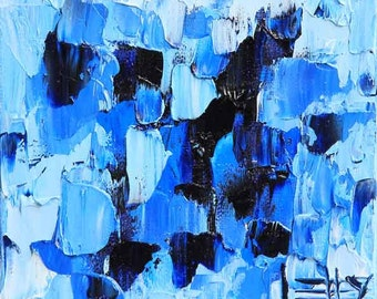 "Abstract Painting, Seascape, Ocean Art, Coastal, Beach Decor, 6x6x1.5"", Palette knife, Oil on canvas, Abstract art, Textured Art,"