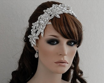 SALE - Off White Lace Headpiece , Beaded Headband , Beaded Headpiece , Wedding Headpiece , Bridal Headpiece , Bridal Hair Accessories
